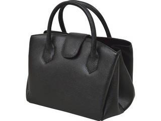 良品工房 日本製牛革 ジャバラ式手提バッグ ブラック  B17-105B