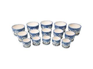 陶器植木鉢15点セット(受皿付) 花柄B CV34/3DFB1-5