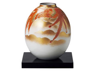 定番の人気シリーズPOINT 信憑 ポイント 入荷 九谷焼 8号夏目花瓶 赤絵鳳凰紋