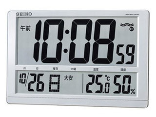 SEIKO/セイコークロック SQ433S 電波時計 掛置き兼用 /温湿度表示/日付表示