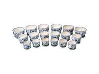 陶器植木鉢18点セット(受皿付) 花柄A CV34/3DKB4-6