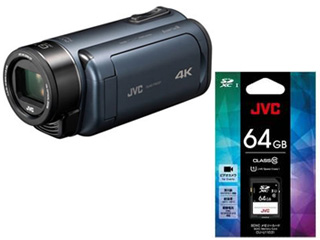 JVC/Victor/ビクター GZ-RY980-A(ディープオーシャン)+CU-U11031 SDXCカード 64GBセット【ry980set】【everiosdset】 【ビデオカメラ】