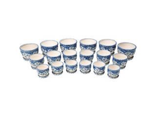 陶器植木鉢18点セット(受皿付) 花柄B CV34/3DFB1-6