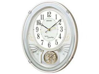 SEIKO/セイコークロック AM258W 電波掛け時計 飾り振り子/おやすみ秒針/メロディ