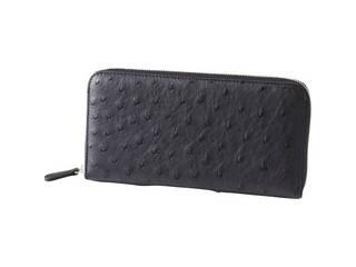 オーストリッチ ラウンドファスナー財布 ブラック  S-NO153106BK