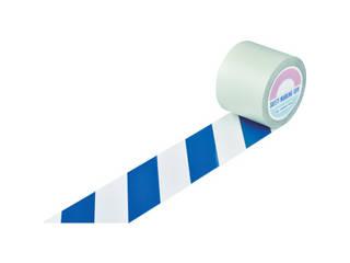 J.G.C./日本緑十字社 ガードテープ(ラインテープ) 白/青(トラ柄) 100mm幅×20m 148165