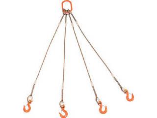 TRUSCO/トラスコ中山 4本吊りWスリング フック付き 6mmX3m GRE-4P-6S3