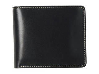 m、i、u、o.j m、i、u、o.j ヌメ革 二つ折財布 ブラック  OJ-1503