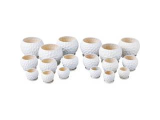 陶器植木鉢18点セット(受皿付) ホワイト UH08/3DWH-6