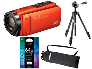 JVC/Victor/ビクター GZ-RX680-D(ブラッドオレンジ)+CU-U11031 SDXCカード 64GB+M47 ファミリー三脚セット【rx680set】 【everiosdset】【ビデオカメラ】【三脚キャリングケース付き】
