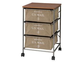 東谷/あづまや US MAIL/USメール チェスト 3段 ベージュ MIP-373BE サイズ:W43×D44×H66cm
