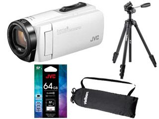 JVC/Victor/ビクター GZ-R480-W(シャインホワイト) +CU-U11031 SDXCカード 64GB+M47 ファミリー三脚セット【r480set】 【everiosdset】【ビデオカメラ】【三脚キャリングケース付き】