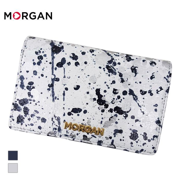 MORGAN/モルガン MR4002 飛沫模様 レザー 2つ折り ウォレット 財布(ホワイト)