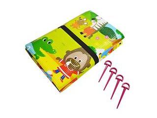 動物のイラストが可愛いピクニックシート 美品 店 プラテック クッションレジャーシート 動物ランド 3畳