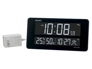 SEIKO/セイコークロック DL208W 電波置き掛け兼用時計 ホワイト/AC電源/温湿度・カレンダー表示/選べる表示色