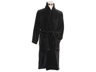 LuinLiving/ルインリビング バスローブ/Lサイズ■低撚糸コットン贅沢バスローブ【ブラック】ROBL-BL