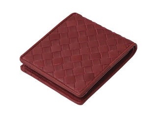 良品工房 良品工房 日本製牛革編込二折れ財布 赤 J17-232RE