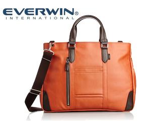 EVERWIN/エバウィン 21598 フィレンツェ メンズ キャンバス地 ビジネスバッグ (オレンジ) ショルダー 2way 日本製