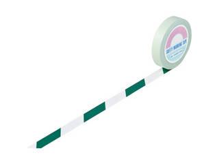 J.G.C./日本緑十字社 ガードテープ(ラインテープ) 白/緑(トラ柄) 25mm幅×100m 148024