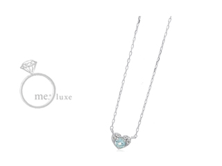me.luxe/エムイーリュークス スワロフスキー ブルートパーズ ハートネックレス スワロフスキー クリスタル ネックレス ペンダント ジュエリー ジュエリー プレゼント ギフト 包装 記念日