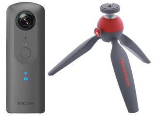 RICOH/リコー RICOH THETA V(メタリックグレー)+MTPIXI-RD(レッド)セット【thetavset】 360°カメラ