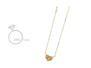 me.luxe/エムイーリュークス スワロフスキー イエロートパーズ ハートネックレス ネックレス ペンダント ジュエリー ジュエリー プレゼント ギフト 包装 記念日