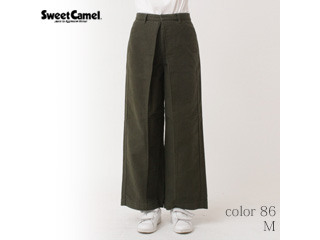 Sweet Camel/スイートキャメル スウェードタッチモールスキン ワイドパンツ【86=オリーブ/M】(CA6324)