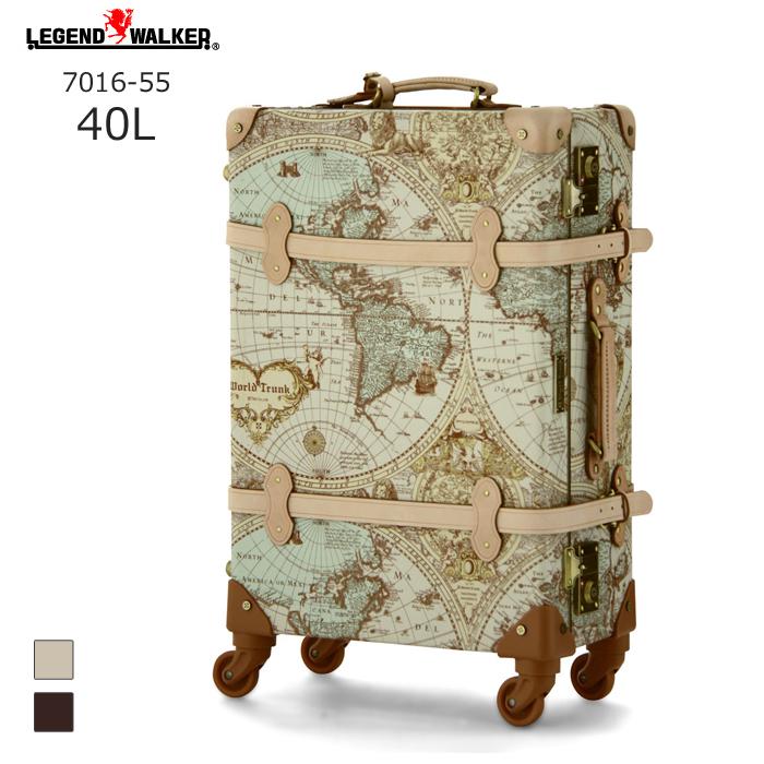 【nightsale】 World Trunk/ワールドトランク ・7016-55 地図柄トランクケース ルネサンス(40L/地図柄ヌメ) T&S(ティーアンドエス) 旅行 スーツケース キャリー 小さい 国内 Sサイズ おしゃれ かわいい 無料受託 無料預け入れ