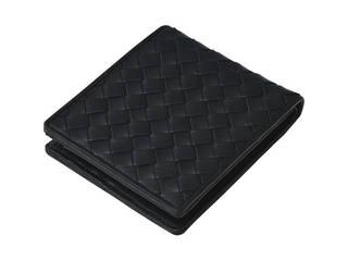 良品工房 良品工房 日本製牛革編込二折れ財布 黒 J17-232B