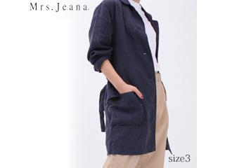 MrsJeana/ミセスジーナ リネンショップコート【ネイビー】サイズ3■麻100%(GMT661 )