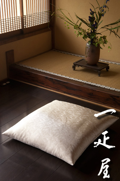 正絹 緞子 ( ペルシャ唐花 ) 座布団カバー 55×59cm ※銘仙判