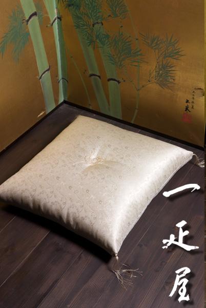正絹 緞子 ( ペルシャ唐花 ) 座布団 65×69cm ※夫婦判