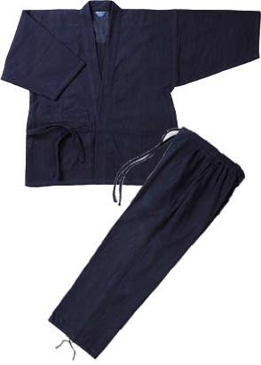 【松勘】 作務衣 一重織刺 木綿100% 上下セット販売 【送料無料】
