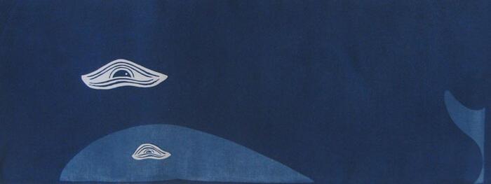 天然藍染 ねこの染物屋 親子クジラ手拭い 灰汁発酵建て 店 手数料無料