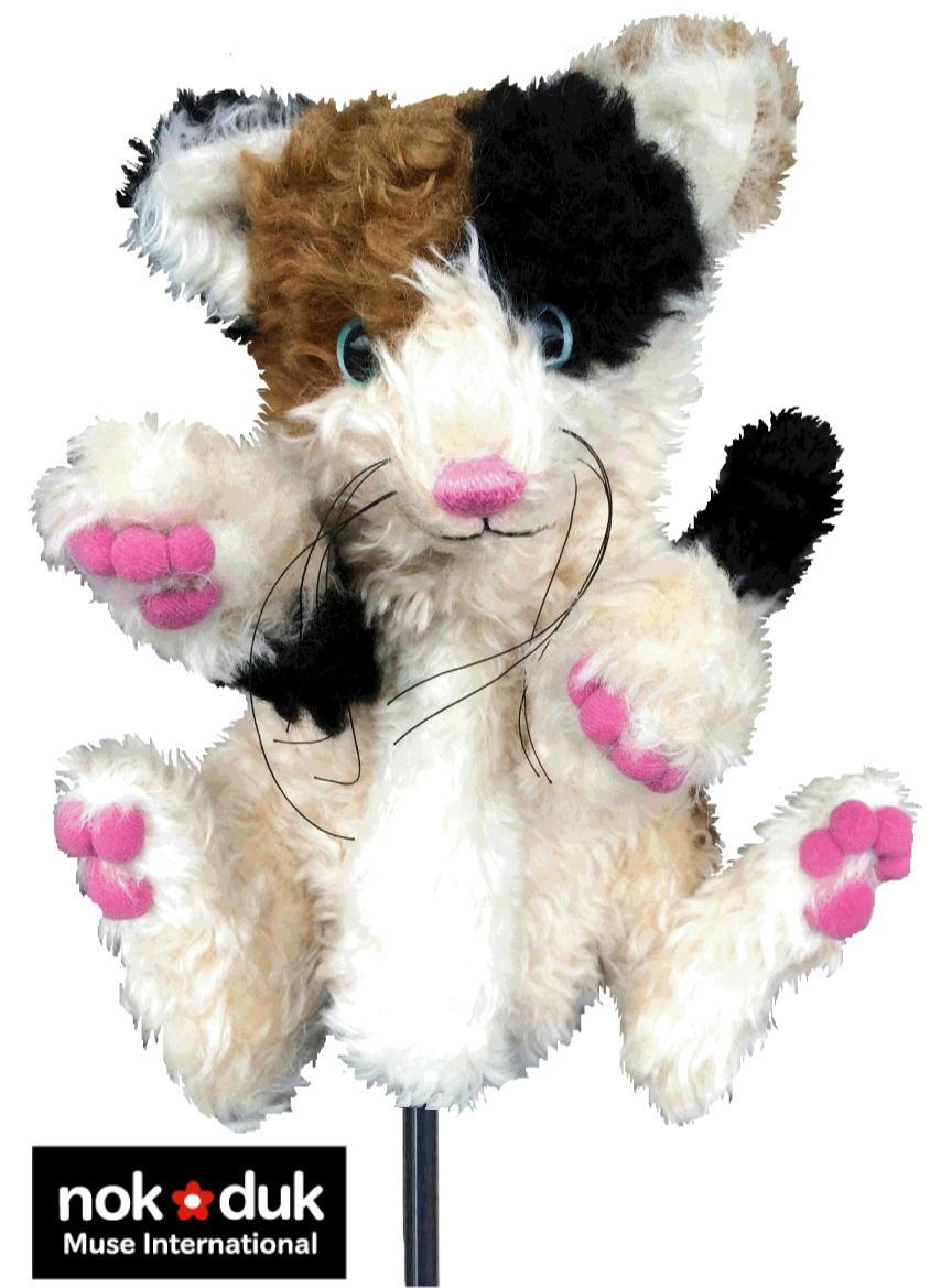 1点物 nokdukオリジナル ゴルフヘッドカバー『三毛猫』 モヘア製。ドライバー用 おしゃれなアニマルキャット・ゴルフヘッドカバー。 可愛いCATゴルフヘッドカバー 動物キャラクター セット ニット