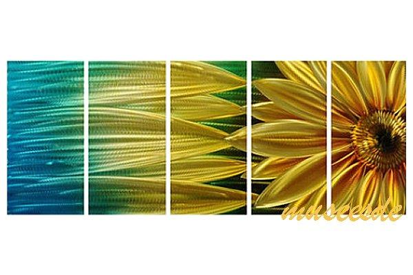 近代芸術 インテリア 壁掛けアートメタルアート アイアンアート モダン 抽象 彫刻 3D 絵画 金運 風水 グラデーション モノトーン アートパネル5パネルSET 黄金の向日葵 ひまわり ヒマワリ ゴールド 和風 MP5H010
