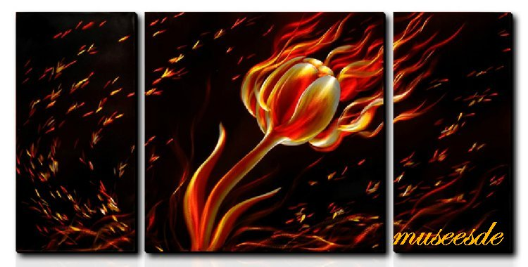 近代芸術 インテリアアート 壁掛け(メタル抽象アート、モダン彫刻、オフィス店舗飾り、アートパネル) モダンメタルアート、おしゃれな家具インテリア3パネルSET 燃えている花 MP3H008