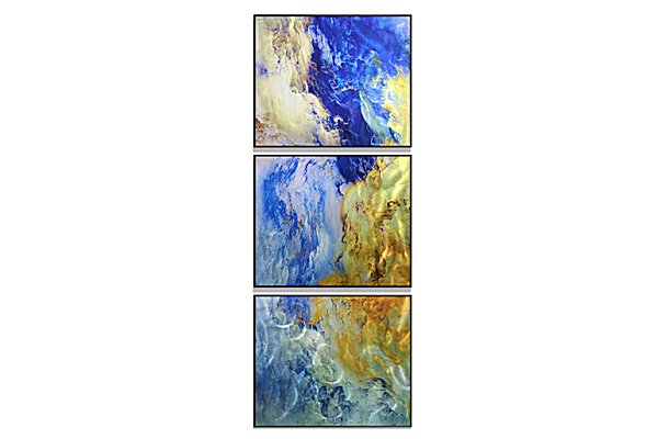 近代芸術 インテリア 壁掛けアートメタルアート アイアンアート モダン 抽象 彫刻 3D 絵画 金運 風水 グラデーション モノトーン アートパネル3パネルSET 青い 風景 和風 MP3H013