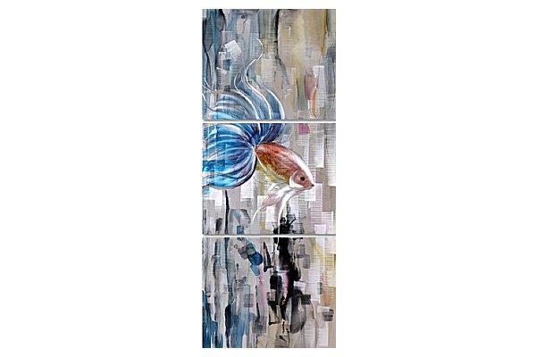 近代芸術 インテリア 壁掛けアートメタルアート アイアンアート モダン 抽象 彫刻 3D 絵画 金運 風水 グラデーション モノトーン アートパネル3パネルSET カラフル金魚 動物 風景 和風 MP3H022