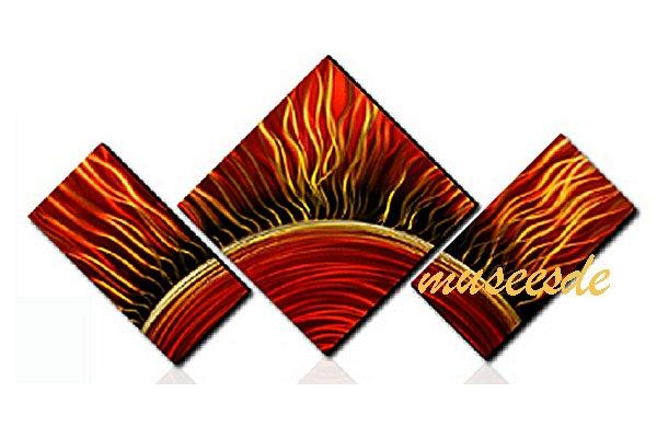 近代芸術 インテリア 壁掛けアートメタルアート アイアンアート モダン 抽象 彫刻 3D 絵画 金運 風水 グラデーション モノトーン アートパネル3パネルSET 太陽 初詣 日の出 朝日 和風 MP3H017