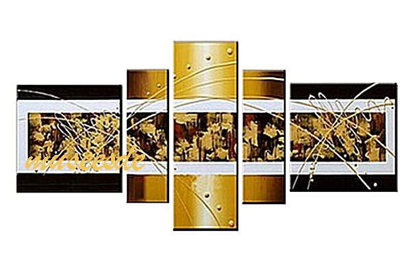 【ミュゼ・デユ】【手書き】【油絵画】【モダン】【インテリア】【壁掛け】【円系】【曲線】【抽象】【凹凸】【グラデーション】【モノトーン】『パネルアート』5パネルSET和風 ヨーロッパ 金運 仕事運 白黄黒 ゴールド P5M009