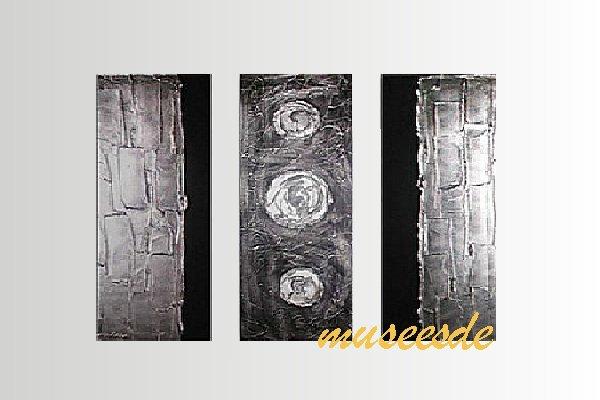 【ミュゼ・デユ】【手書き】【油絵画】モダン インテリア 壁掛け 絵画 自然画 抽象画 凹凸 グラデーション モノトーン クラシック ヴィンテージ風 レトロ シック 『パネルアート』3パネルSET 和風 ヨーロッパ風 風水 金運 曲線 円形 シルバー P3M034