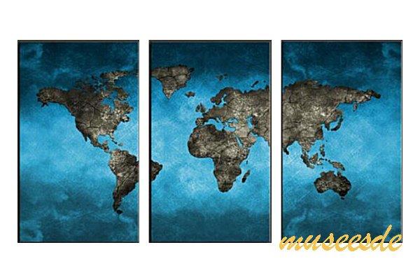 【ミュゼ・デユ】【手書き】【油絵画】【モダン】【インテリア】【壁掛け】【絵画】【自然画】【抽象画】【凹凸】【グラデーション】【モノトーン】『パネルアート』3パネルSET和風 ヨーロッパ風 風水 金運 世界地図 青い地図 P3M047