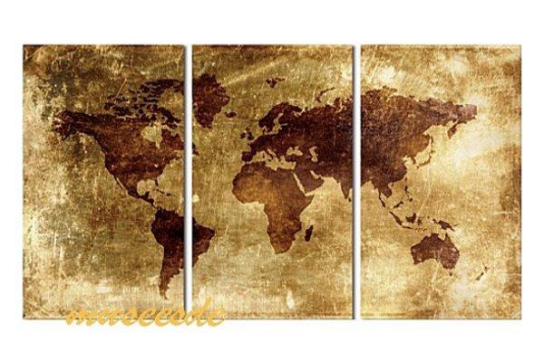 【ミュゼ・デユ】【手書き】【油絵画】【モダン】【インテリア】【壁掛け】【絵画】【自然画】【抽象画】【凹凸】【グラデーション】【モノトーン】『パネルアート』3パネルSET和風 ヨーロッパ風 風水 金運 世界地図 黄茶色 P3M040