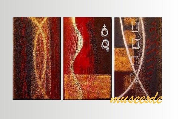 【ミュゼ・デユ】【手書き】【油絵画】モダン インテリア 壁掛け 絵画 自然画 抽象画 凹凸 グラデーション モノトーン クラシック ヴィンテージ風 レトロ シック 『パネルアート』3パネルSET 和風 ヨーロッパ風 風水 金運 曲線 円形 赤色 P3M025