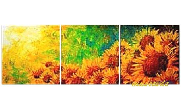 【絵画】【モダン】【手書き】【壁掛け】【油絵】【自然画】【花】【インテリア】『パネルアート』3パネルSET 向日葵 ひまわり 黄橙赤緑 和風 P3H003