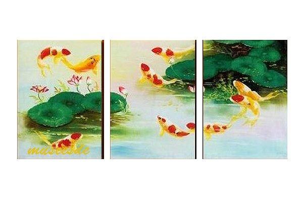 【絵画】【手書き】【壁掛け】【油絵】【自然画】【花】【インテリア】『パネルアート』3パネルSET 新中国風 和風 蓮と鯉 ハスと金魚 緑 P3H037
