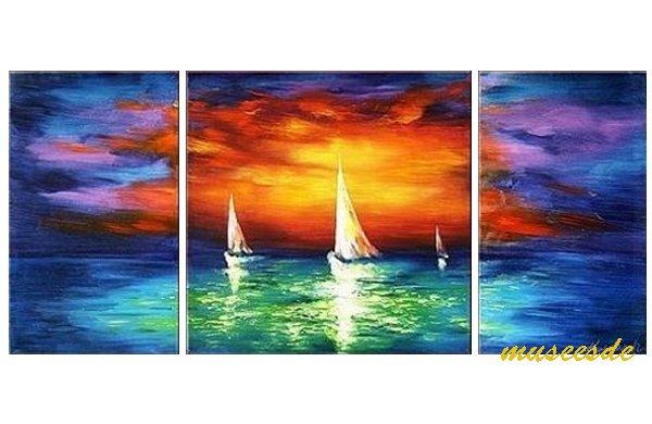 【絵画】【モダン】【手書き】【壁掛け】【油彩画】【自然画】【バリ絵】【インテリア】『パネルアート』 3パネルSET バリ風 南国 ヨーロッパ風景 海 帆船 夕焼け ヨット P3K013