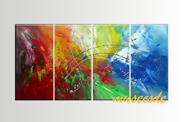 【ミュゼ・デユ】【手書き】【油絵画】モダン インテリア 壁掛け 絵画 自然画 抽象画 凹凸 グラデーション モノトーン クラシック ヴィンテージ風 レトロ シック『パネルアート』4パネルSET 和風 ヨーロッパ風 風水 金運 曲線 円形 P4M040
