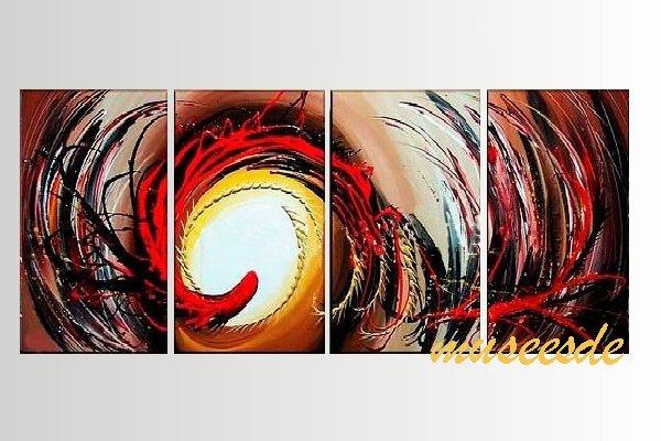 【ミュゼ・デユ】【手書き】【油絵画】モダン インテリア 壁掛け 絵画 自然画 抽象画 凹凸 グラデーション モノトーン クラシック ヴィンテージ風 レトロ シック『パネルアート』4パネルSET 和風 ヨーロッパ風 風水 金運 曲線 円形 赤 レッド P4M055